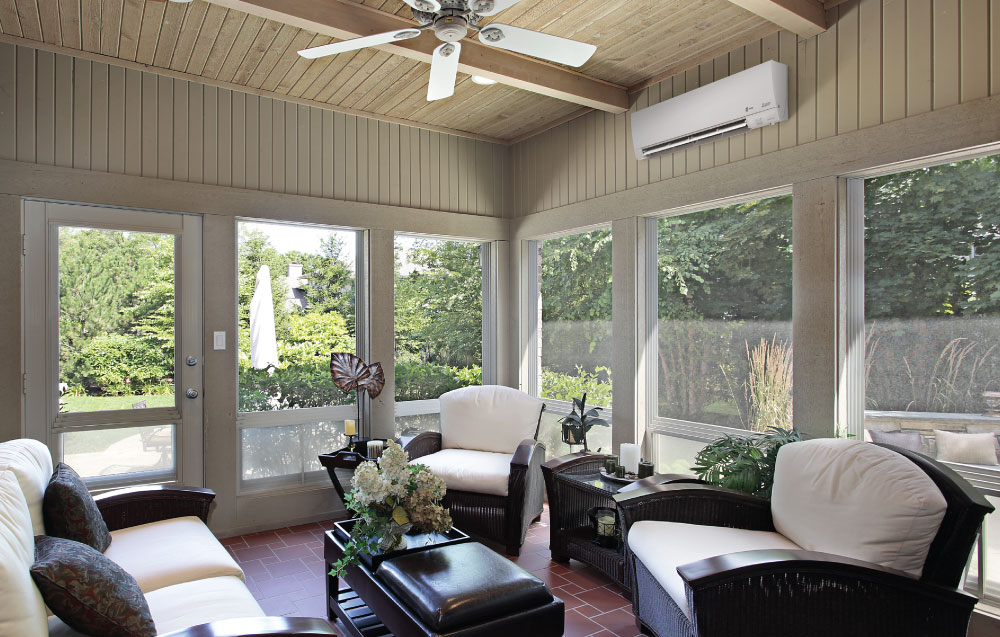Ductless Air Conditioner in Sunroom